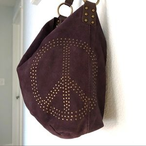 Lucky Purple Peace Sign Suede purse